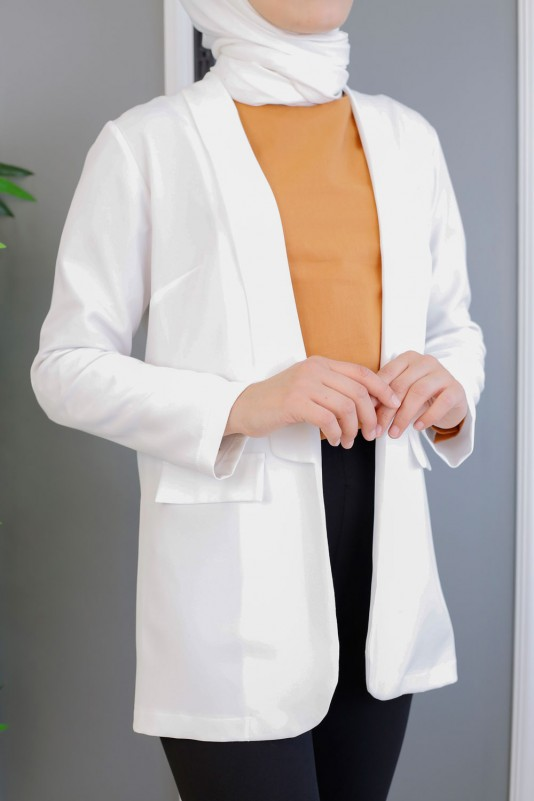 Önü Açık Dabıl Krep Ceket-Beyaz